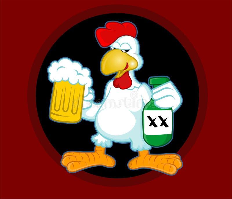 Drunken chicken rooster cartoon style vectors stock photography