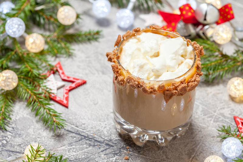 Drunken Gingerbread man in a Christmas cocktail. Drunken Gingerbread cookie man in a Christmas cocktail stock photography