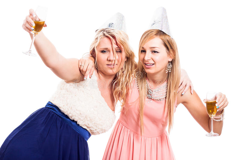 Drunken women celebrate royalty free stock image