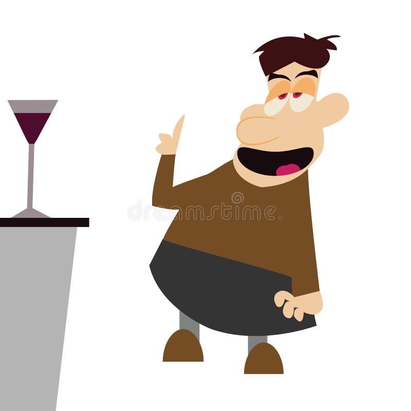 Drunker στο φραγμό διανυσματική απεικόνιση