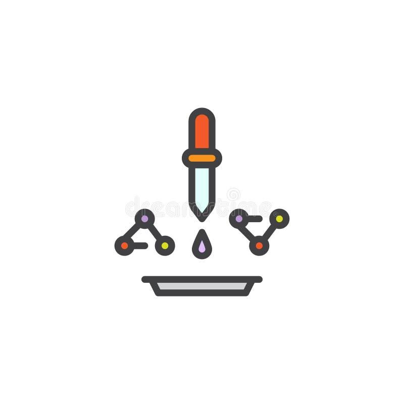 Druppelbuisje met molecule en laboratoriumglaswerk gevuld overzichtspictogram vector illustratie