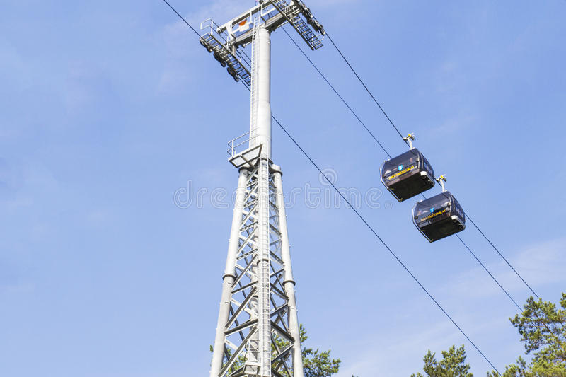 Druskininkai, Lithuania - August 28, 2016: Cableway. This is eco-friendly transport solution. The route 1 km long and. Druskininkai, Lithuania - August 28, 2016 royalty free stock photography