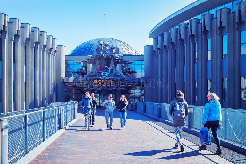 People at entrance into aqua park in Druskininkai toned stock image