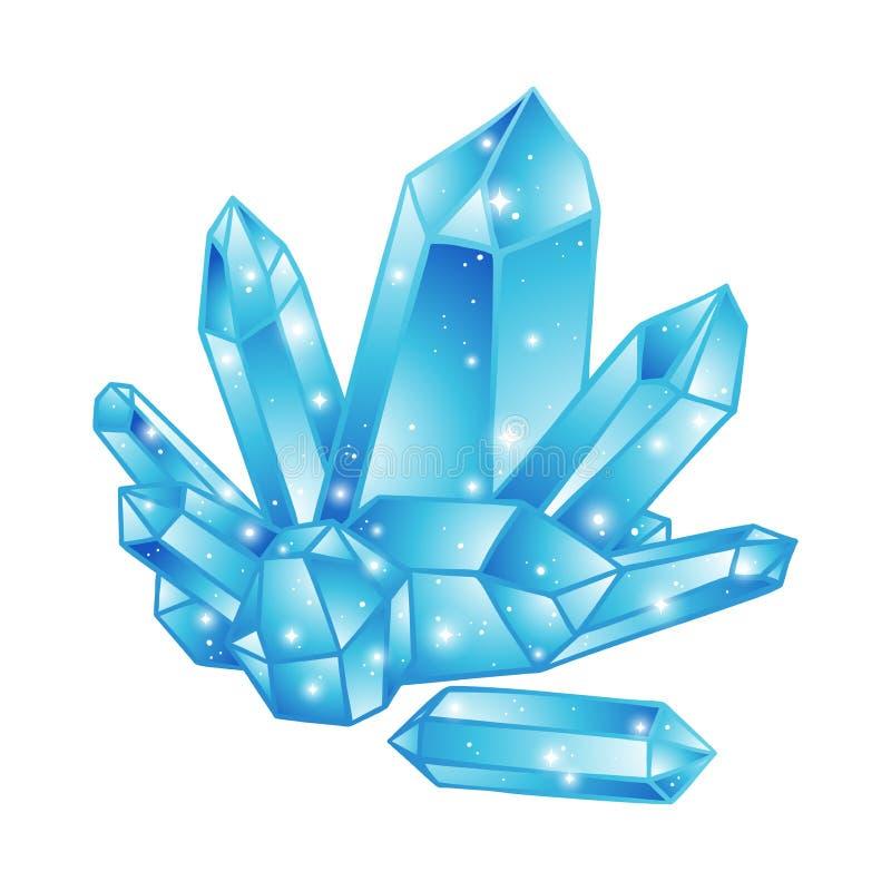 Druso azul dos cristais isolado na mão branca do fundo tirada ilustração royalty free