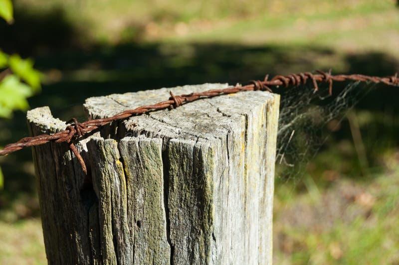 Drut kolczasty i bela wiejski płotowy szczegół fotografia royalty free