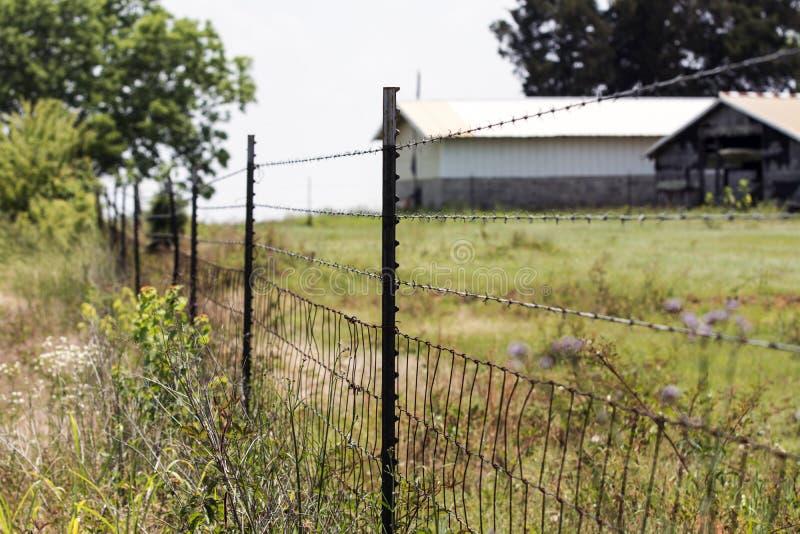 Drut kolczasty i wyplatający druciany ogrodzenie zdjęcia royalty free