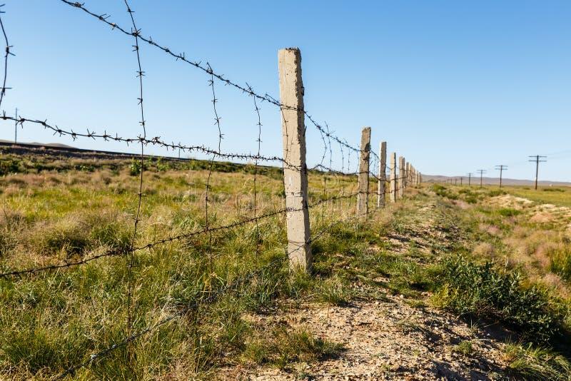 Drut kolczasty płotowy Mongolia fotografia royalty free