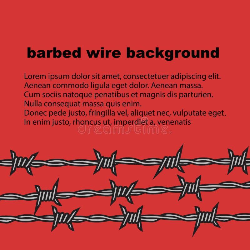 Drutu kolczastego czerwony tło z miejscem dla teksta wektor ilustracja wektor