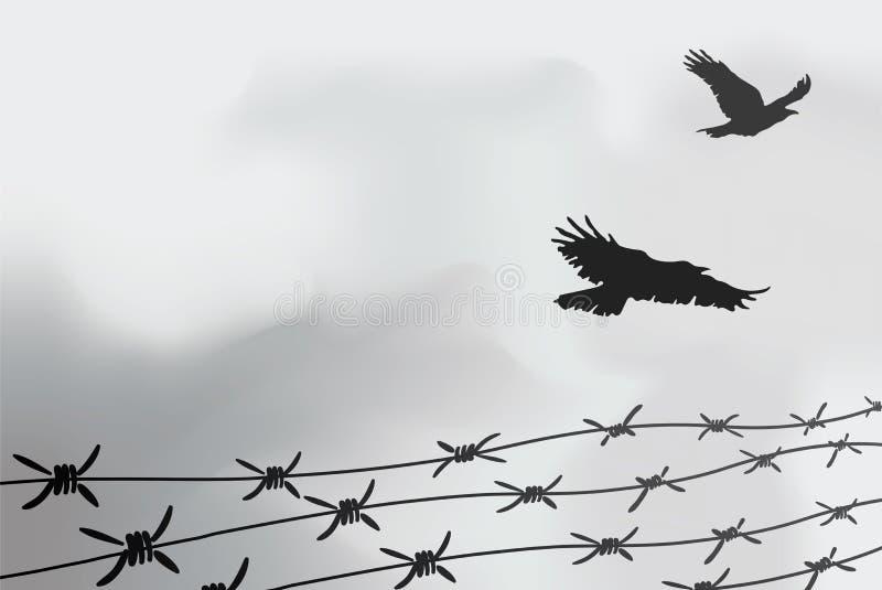 Drutu Kolczastego fechtunek Ogrodzenie robić drut z kolcami Czarny i biały ilustracja holokaust konsoli obóz royalty ilustracja