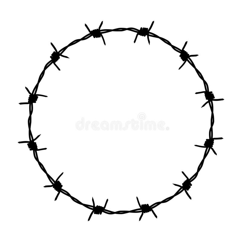 Drutu kolczastego graficzny symbol ilustracji