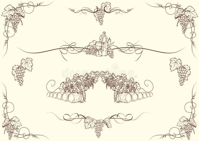 Druvaprydnader royaltyfri illustrationer