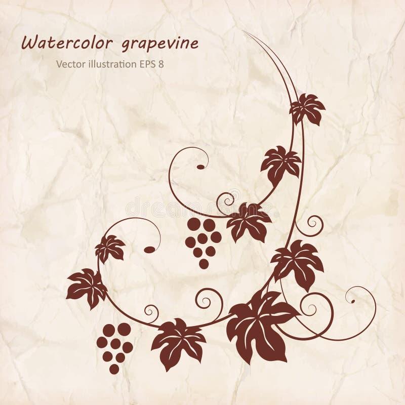 Druvavinranka med bakgrund för grungepapperstextur royaltyfri illustrationer