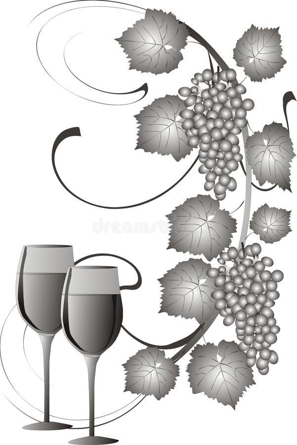 druvawine vektor illustrationer