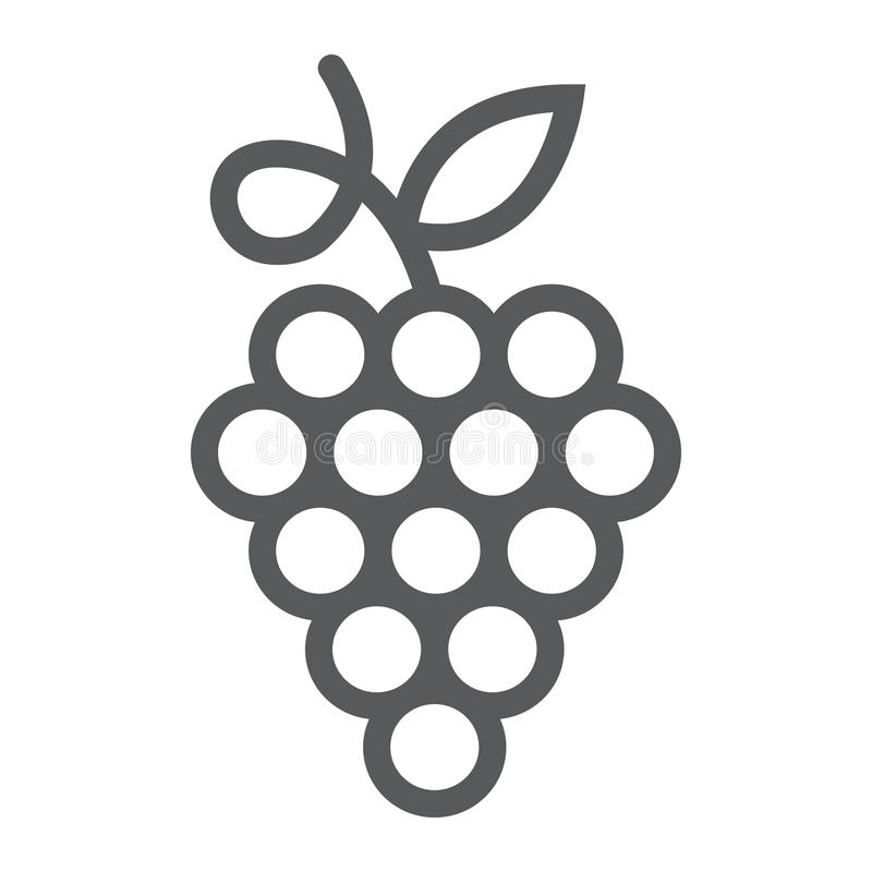 Druvor fodrar symbolen, bär frukt och växten, vintecknet, vektordiagram, en linjär modell på en vit bakgrund vektor illustrationer