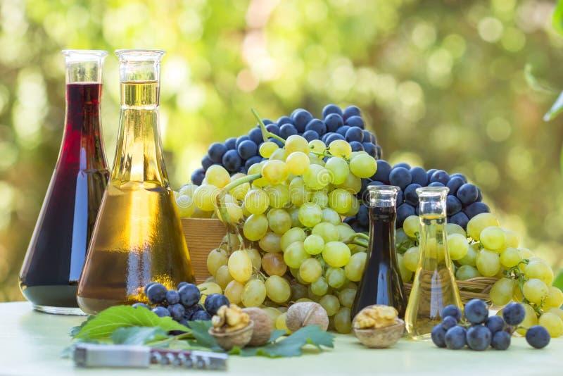 Druvor och wine i flaskorna arkivbild