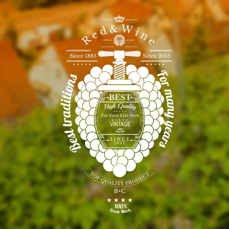 Druvor samlar ihop med trumman för text i mitt- och tappningpressen upp Vinetikett på vingårdar och suddig bakgrund för hus vektor illustrationer