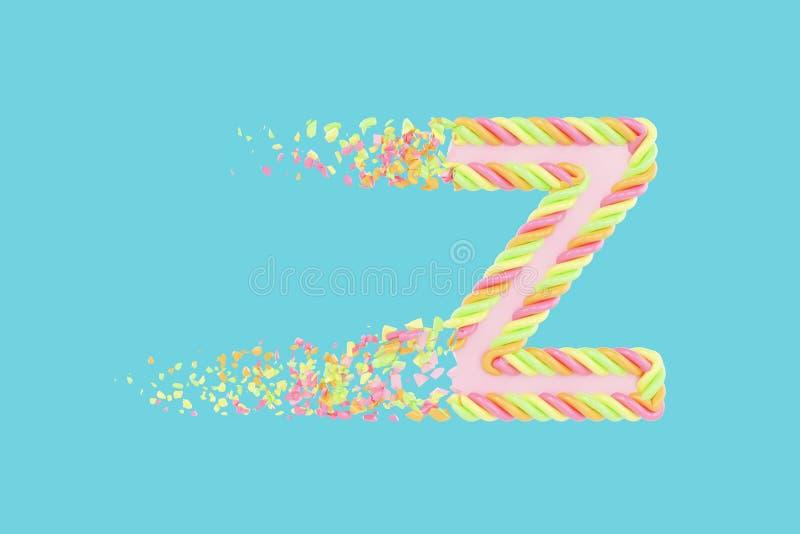 Druzgocąca listu Z 3D raster realistyczna ilustracja Abecadło list z marshmallow teksturą elementy projektu podobieństwo ilustrac ilustracji