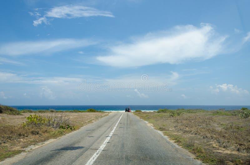 Dry and arid desert landscape in Aruba stock photography
