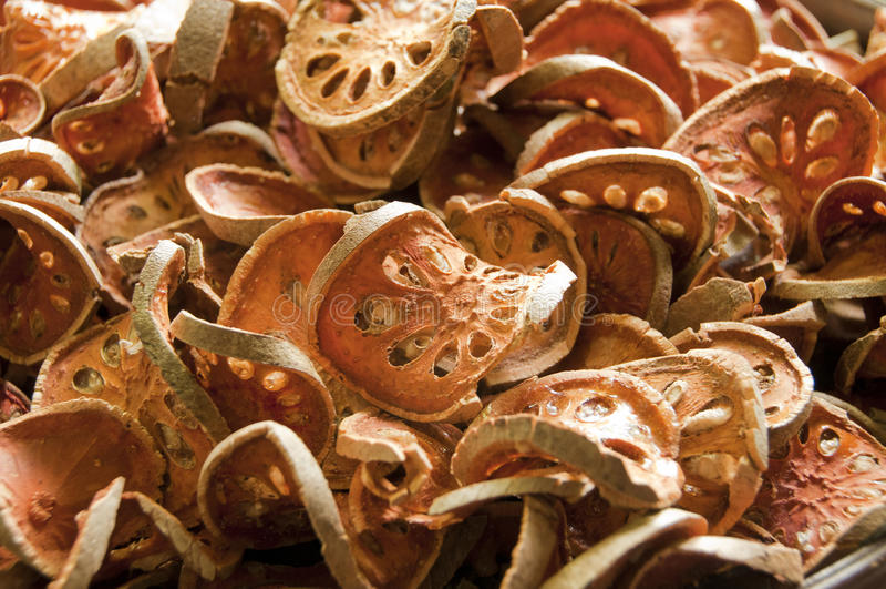 Dry bael fruit. stock photo