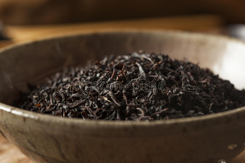 Dry Black Loose Leaf Tea stock photography