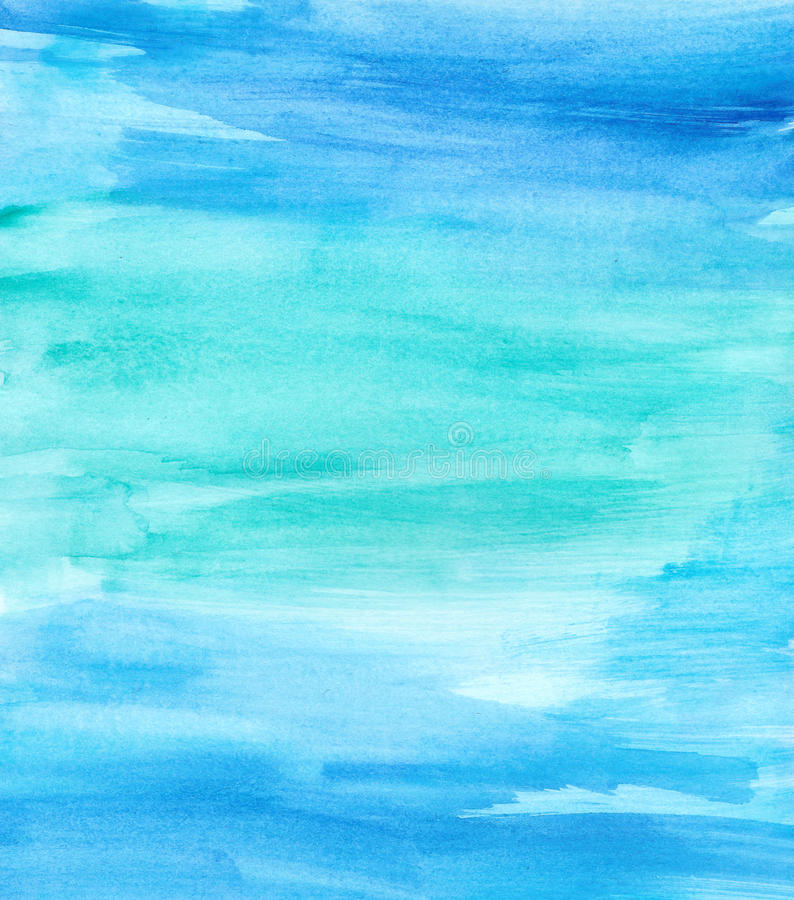Dry Brushed Blue Teal Watercolor royalty free illustration