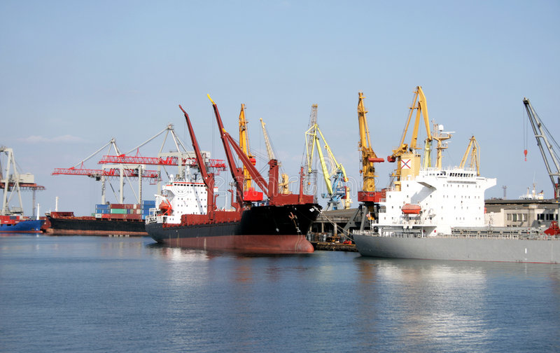Download Dry-cargo Ships Cost At Moorings Stock Photo - Image: 5795344
