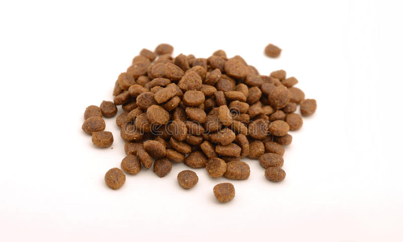Dry cat or dog food in kibble form stock image