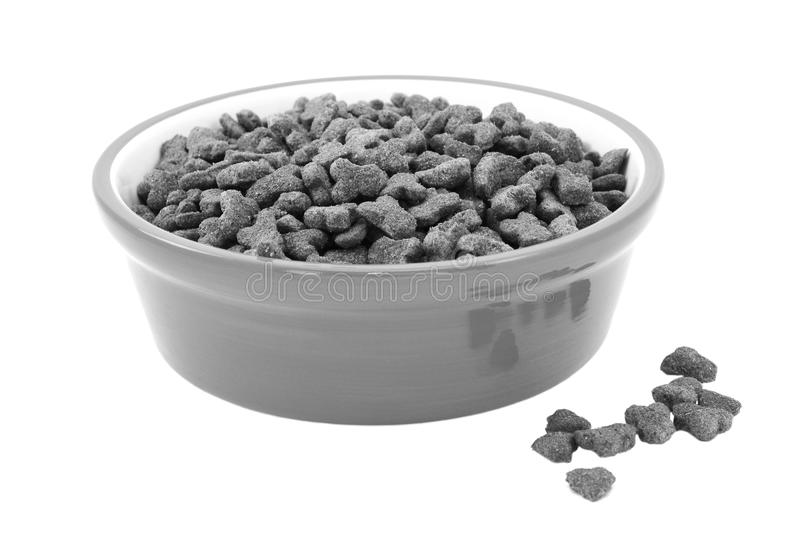 Dry cat food in a bowl, biscuits spilled beside. Dry cat food in a bowl, some biscuits spilled beside, isolated on a white background royalty free stock image
