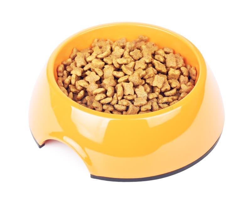 Dry Cat Food In Orange Bowl royalty free stock image