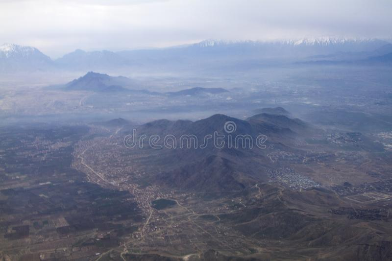 Aerial view and landscape view for City view of Kabul Afghanistan. A dry city of Kabul Afghanistan during summer season. the aerial view was look amazing from stock photography