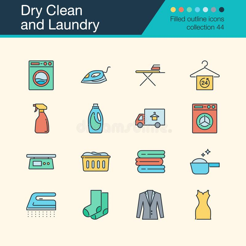 Dry Clean and Laundry icons. Filled outline design collection 54. For presentation, graphic design, mobile application, web vector illustration