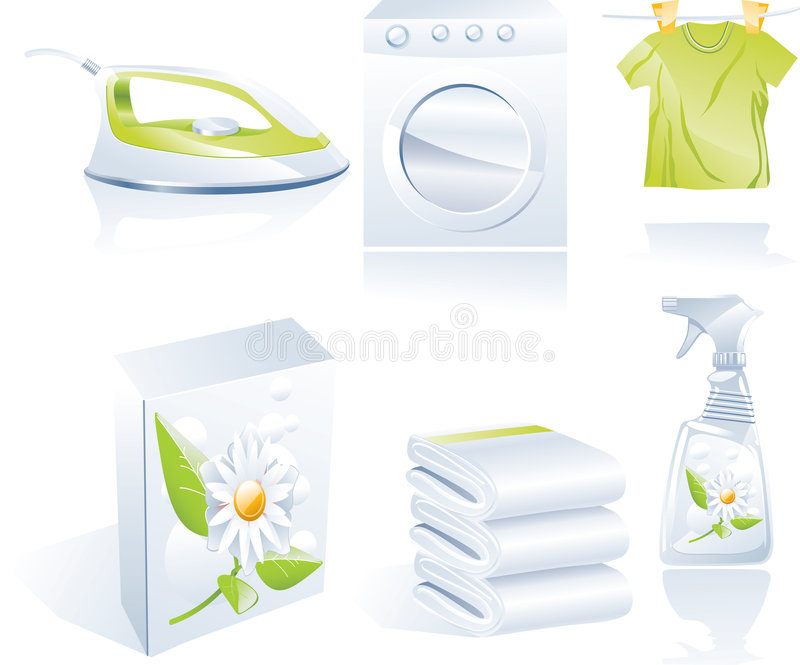 Dry cleaner's vector icon set royalty free illustration
