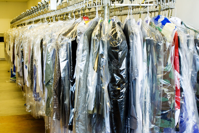 Dry Cleaners. Clothes at the Dry cleaners stock photo