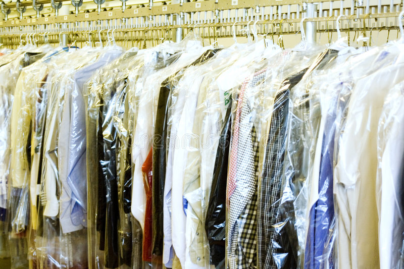 Dry Cleaners. Clothes at the Dry cleaners stock image