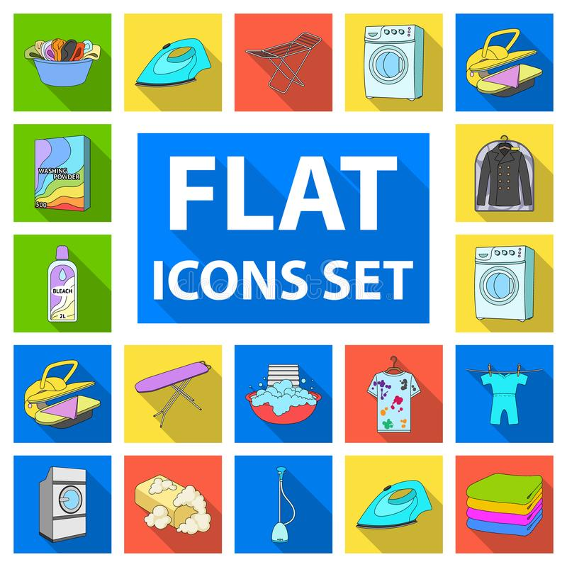 Dry cleaning equipment flat icons in set collection for design. Washing and ironing clothes vector symbol stock web stock illustration