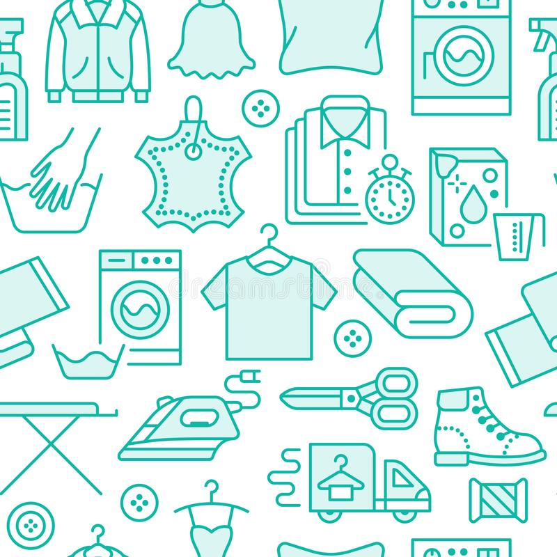 Dry cleaning, laundry blue seamless pattern with line icons. Laundromat service equipment, washing machine, clothing. Shoe and leaher repair, garment ironing vector illustration