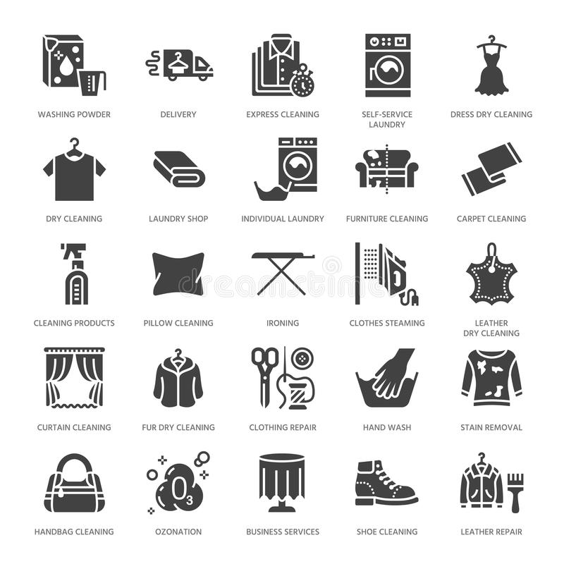 Dry cleaning, laundry flat glyph icons. Launderette service equipment, washer machine, shoe shine, clothes repair. Garment ironing and steaming. Washing signs vector illustration