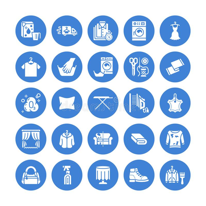 Dry cleaning, laundry flat glyph icons. Launderette service equipment, washer machine, shoe shine, clothes repair. Garment ironing and steaming. Washing signs stock illustration
