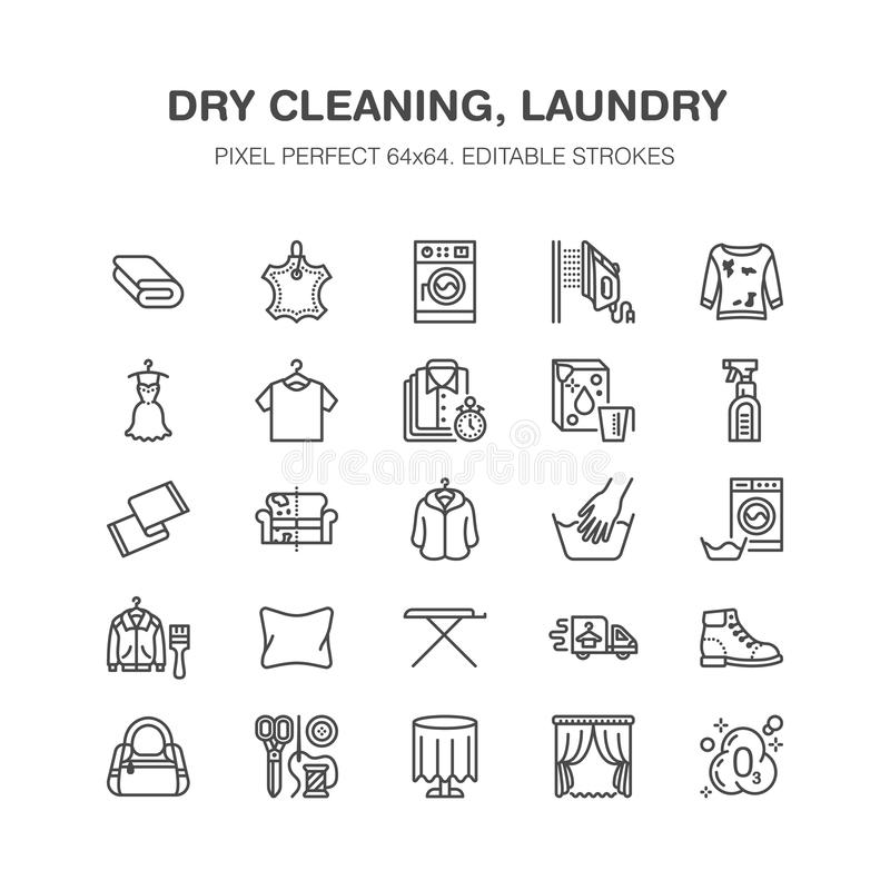 Dry cleaning, laundry flat line icons. Launderette service equipment, washer machine, shoe shine, clothes repair. Garment ironing and steaming. Washing thin stock illustration