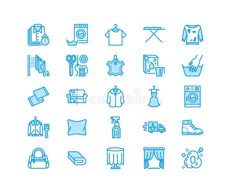 Dry cleaning, laundry flat line icons. Launderette service equipment, washer machine, shoe shine, clothes repair. Garment ironing and steaming. Washing thin vector illustration