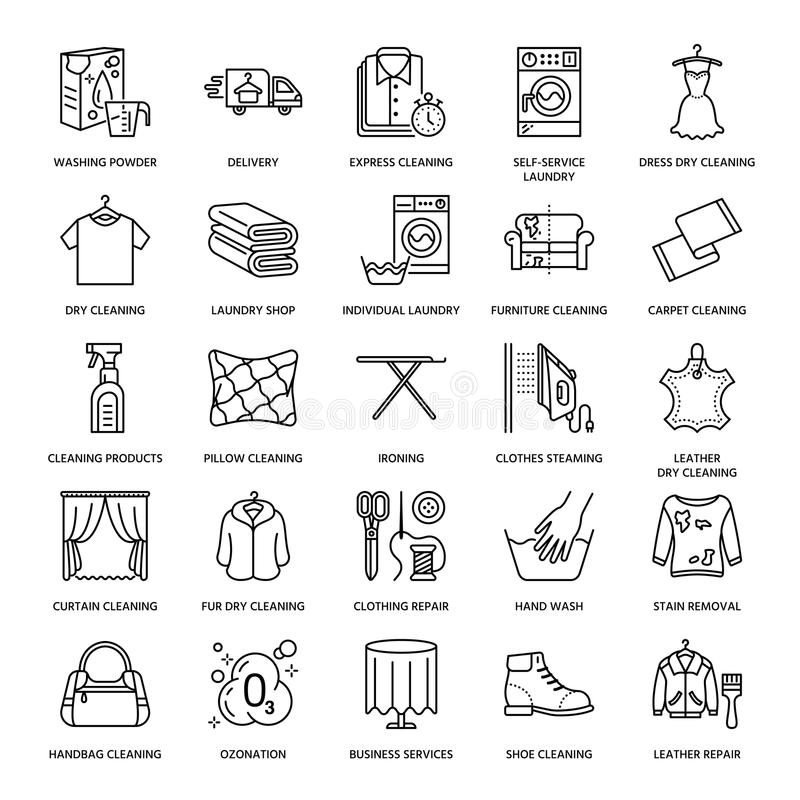 Dry cleaning, laundry line icons. Launderette service equipment, washing machine, clothing shoe and leaher repair. Garment ironing and steaming. Washing thin vector illustration