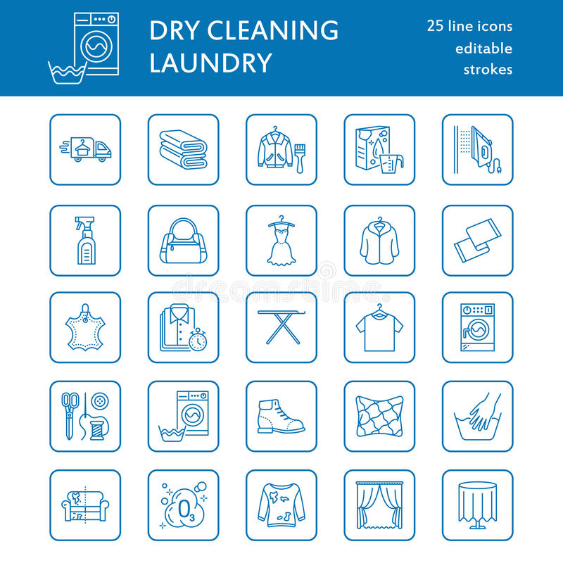 Dry cleaning, laundry line icons. Launderette service equipment, washing machine, clothing shoe and leaher repair. Garment ironing and steaming. Washing thin royalty free illustration