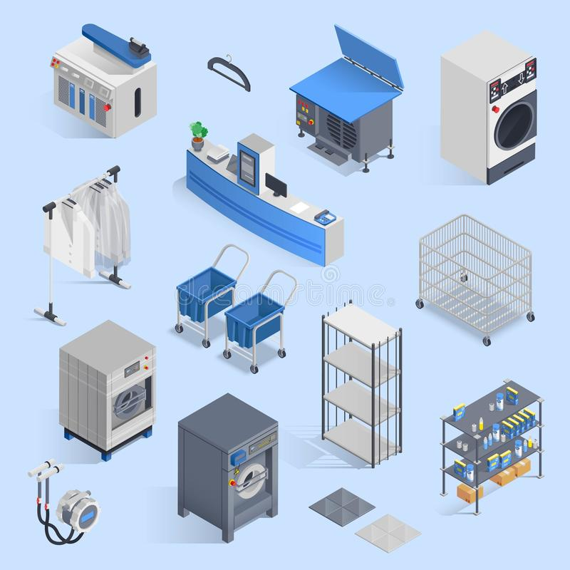 Dry Cleaning And Laundry Service Isometric Set stock illustration