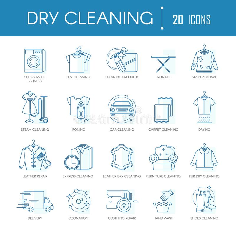 Dry cleaning laundry service line icons vector set for clothing types, car or carpets. Dry cleaning or laundry service line icons templates for different clothes stock illustration