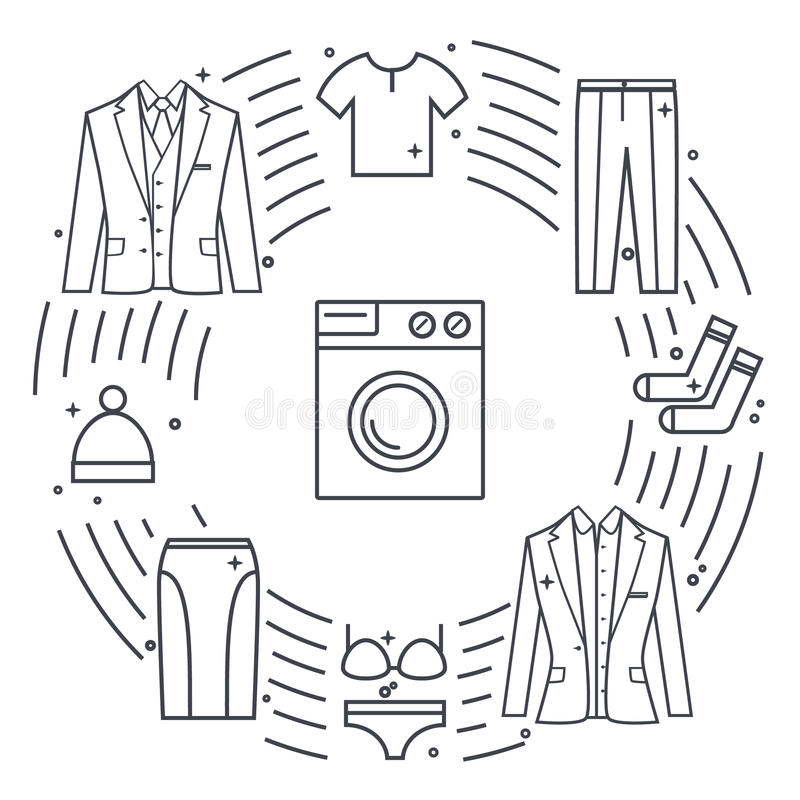 Dry-cleaning and laundry vector objects. Unique vector concept with different clothes elements: washer, jacket, skirt. Dry-cleaning and laundry vector objects royalty free illustration