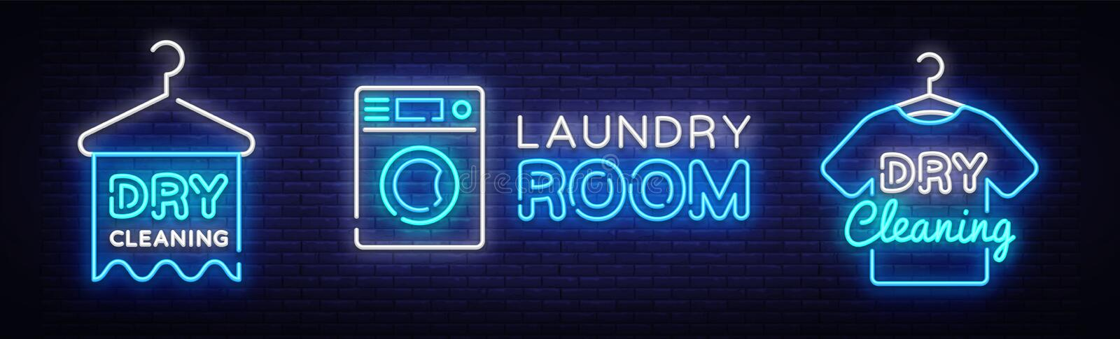 Dry Cleaning Neon Logo Collection Vector. Laundry Room neon sign, design template, modern trend design, night neon vector illustration
