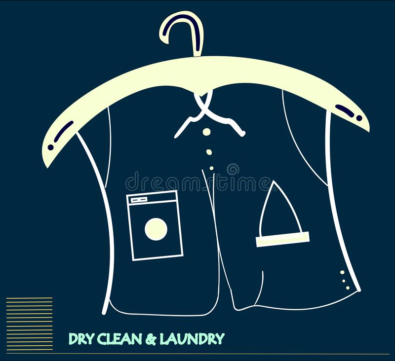 Dry cleaning service concept art. Concept for the dry cleaning , ironing and washing industry. Fully scalable format royalty free illustration