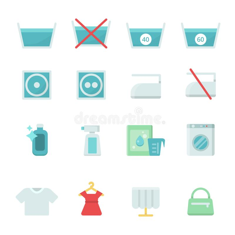 Dry Cleaning Symbols Various Washing Vector Icon Set Stock Vector