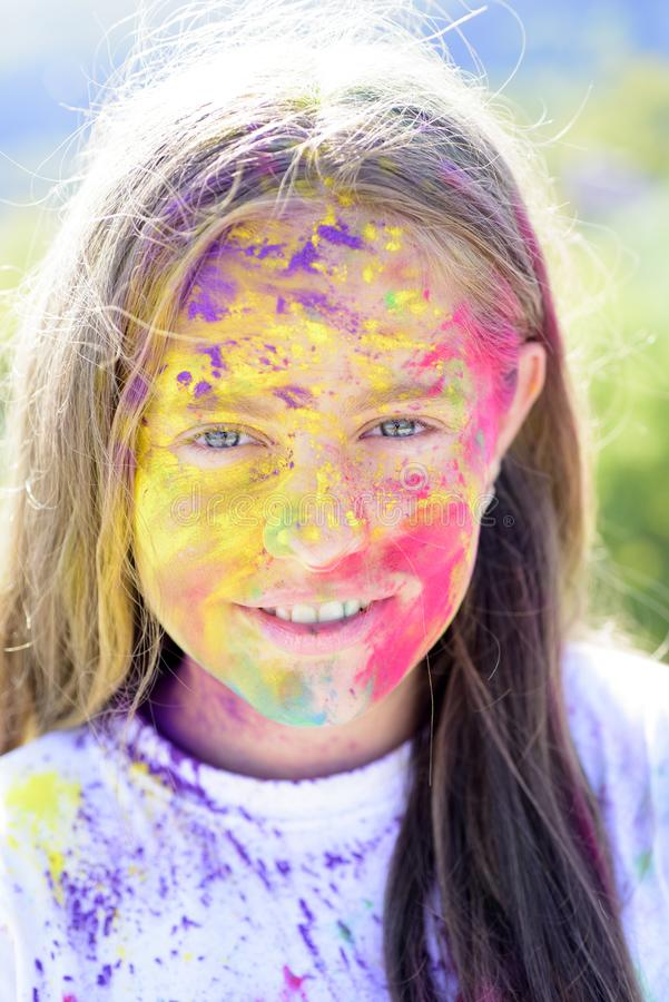 Dry color concept. positive and cheerful. Happy youth party. Optimist. Spring vibes. Crazy hipster girl. autumn weather. Colorful neon paint makeup. child with royalty free stock image