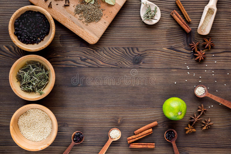 dinner table background. Download Dry Colorful Spices, Vanilla, Cinnamon On Kitchen Wooden Table Background Top View Mockup Dinner G